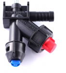 Nozzle holder with diaphragm cut-off valve (RAU-system, single hose connector)