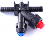 Nozzle holder with diaphragm cut-off valve (RAU-system, double hose connector)