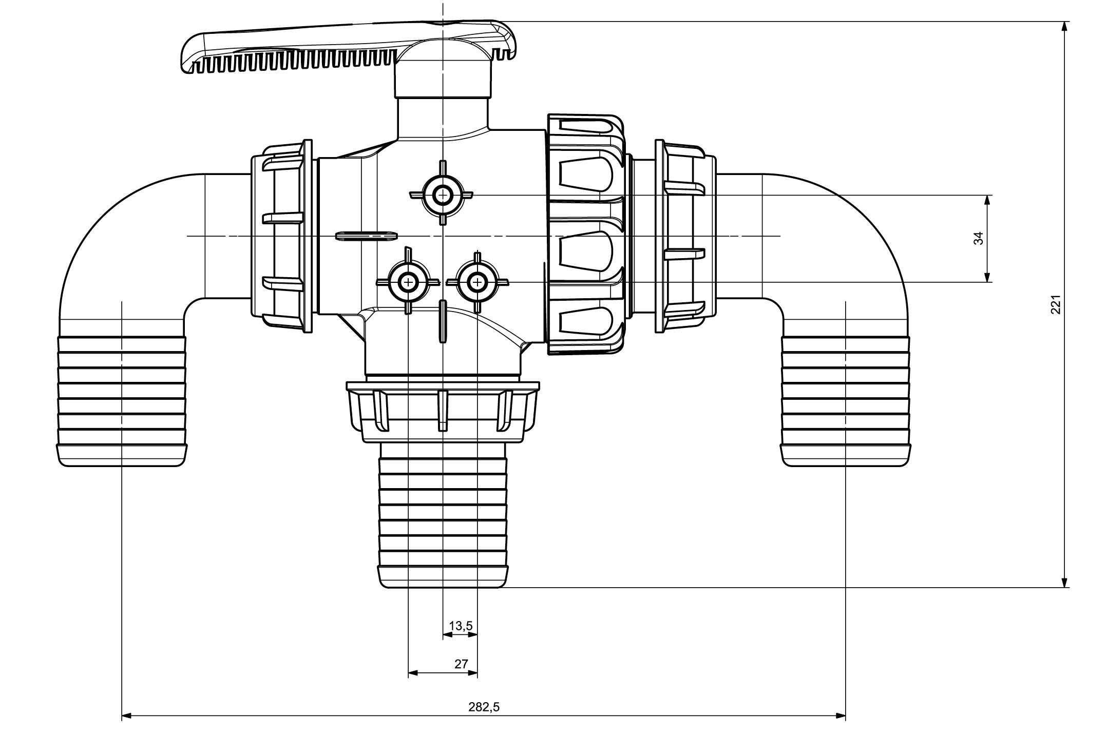 Zawór kulowy 3-drożny PROLINE 2'' - ZK2CALE - AGROPLAST 3